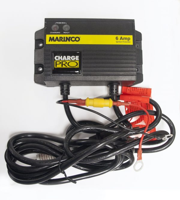 black 6 amp charger with cord and wires