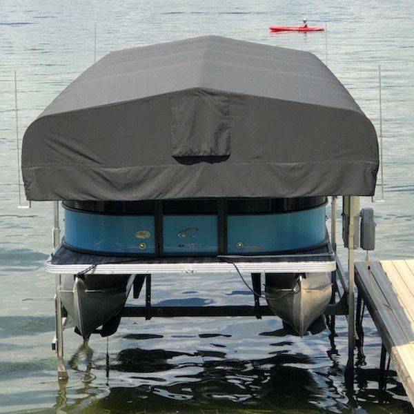 boat lift canopy with upward facing rods to discourage seagulls
