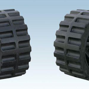 set of black poly wheels