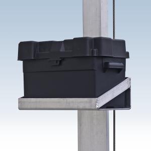 vertical metal battery shelf with black battery box