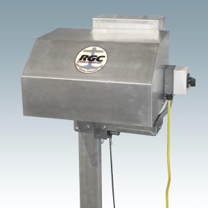metal box power drive on a vertical stand