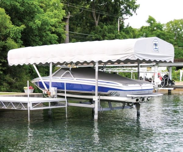 RGC Vertical boat lift with beige traditional canopy