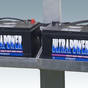vertical mounted metal dual battery shelf