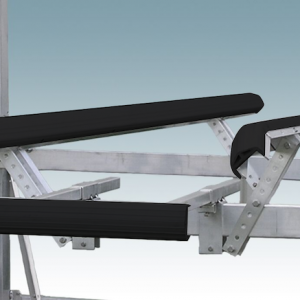 metal and black vinyl pivoting boat lift guide