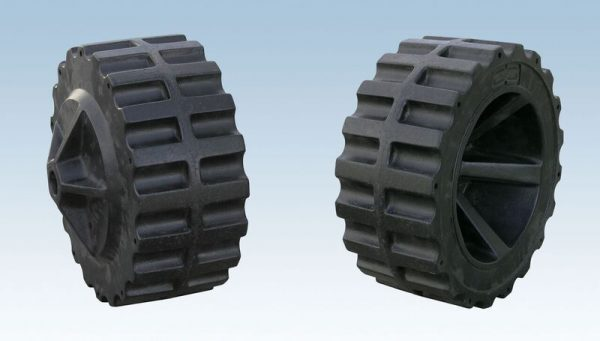 set of black poly wheels