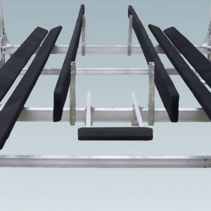 black padded guides on a metal boat lift with adjustable legs and depth guide