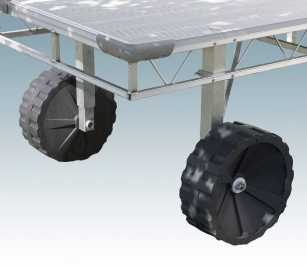 dock with corner bumpers adjustable legs and wheels