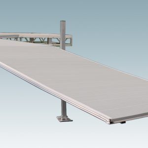aluminum dock ramp attached to a dock