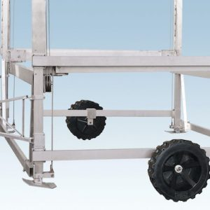 metal frame and hitch with adjustable legs foot plates and wheels