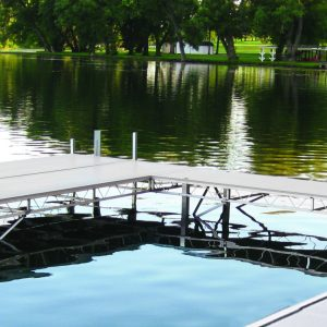truss dock system on a calm lake