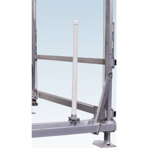 vertical PVC guide post mounted to a boat lift