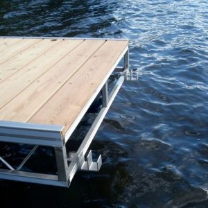 metal and wood dock with added mounting brackets