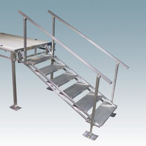 metal dock 5 step stairs on adjustable legs with foot plates