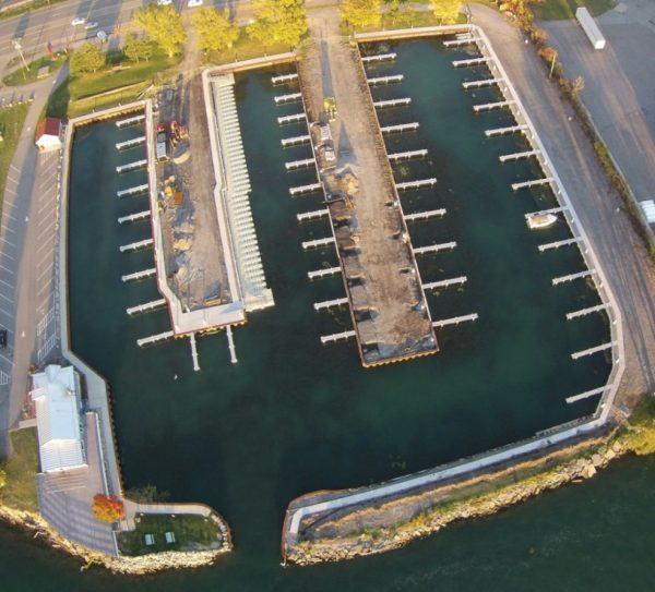 Ariel view of marina with RGC heavy duty docks
