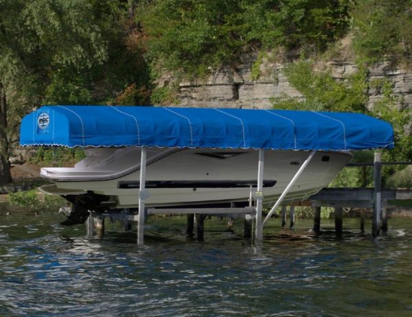RGC Vertical boat lift with blue traditional canopy