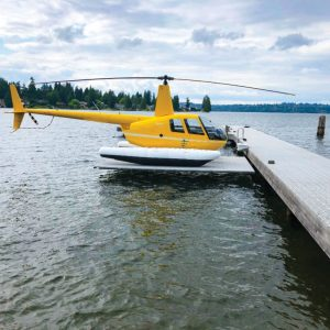RGC Seaplane lift with yellow helicopter